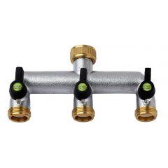 3 Way Manifold - Plated Brass