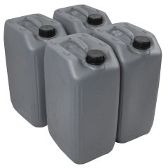 25 Litre Stackable Grey Plastic Jerry Can - UN Approved - Pack of 4